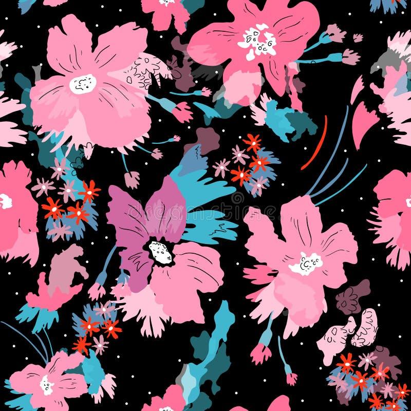 Seamless vector pattern of elegant flowers. In black background. stock illustration