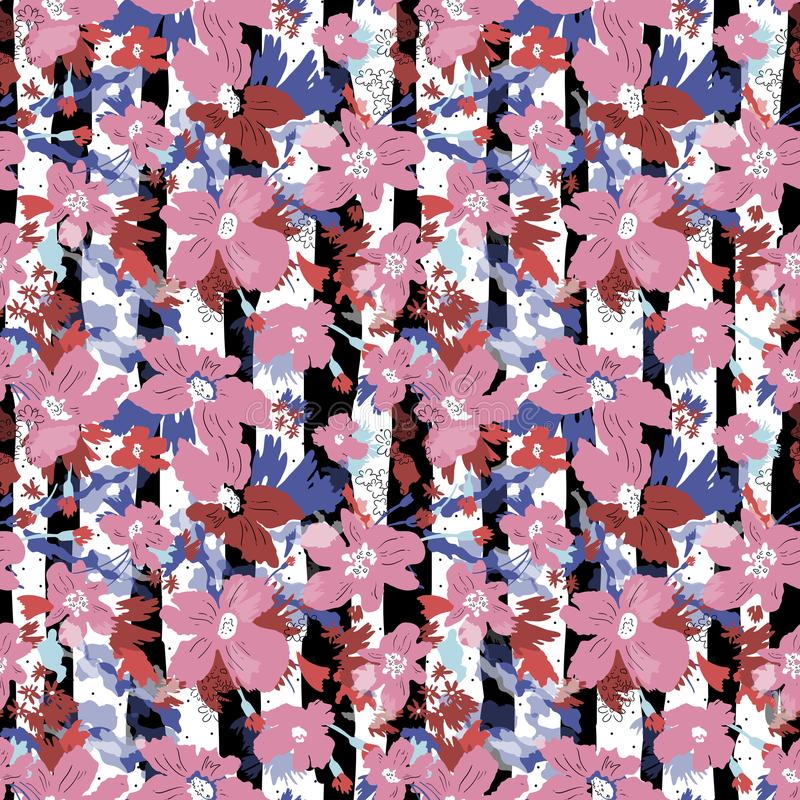 Seamless vector pattern of elegant flowers. stock illustration
