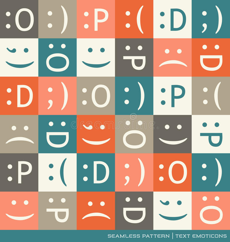 Seamless Vector Pattern With Emoticons Text Symbols Stock Vector