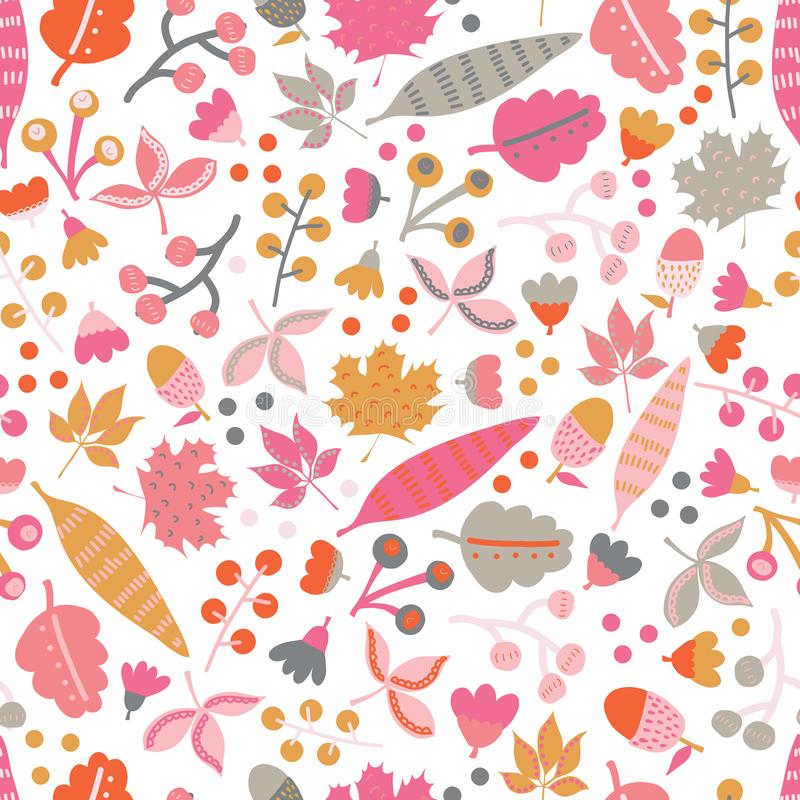 Seamless vector pattern fall doodle leaves. Scandinavian style repeating autumn pattern. Red pink gold gray leaf.  royalty free illustration