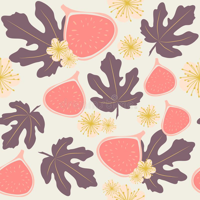 Seamless vector pattern of figs, leaves and flowers in pastel colors stock photos
