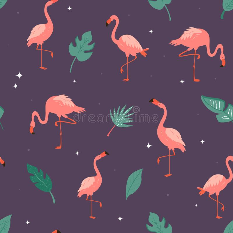 Seamless vector pattern with flamingos and leaves vector illustration