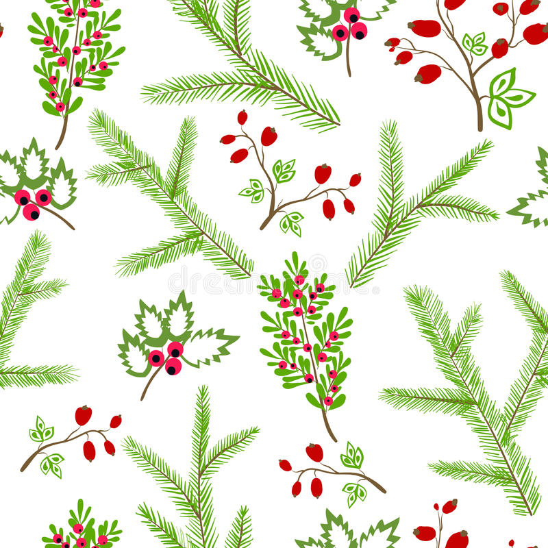 Seamless vector pattern with floral branches winter christmas ha vector illustration