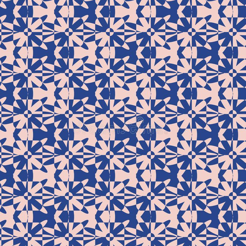 Seamless vector pattern with floral and geometric shapes in pink and indigo blue stock illustration