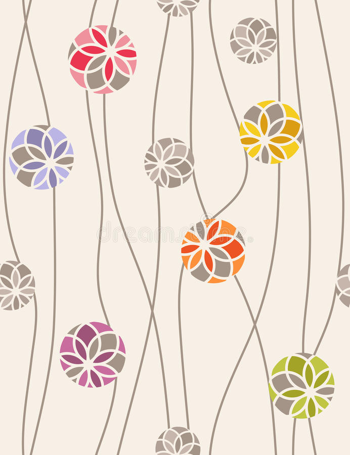 Seamless vector pattern of floral medallions. stock illustration
