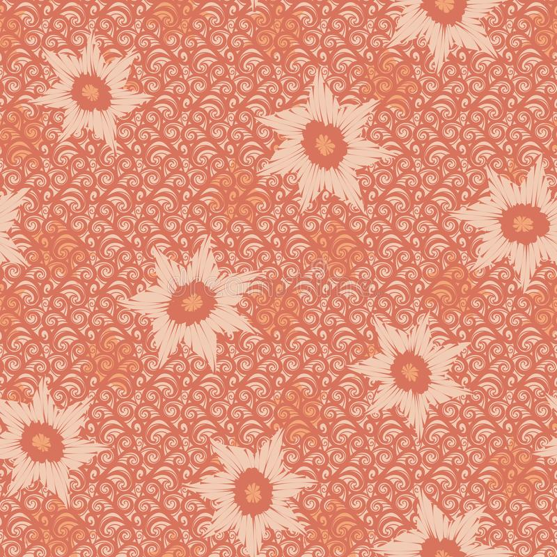 Seamless vector pattern with floral shapes on ornamental textured background stock illustration