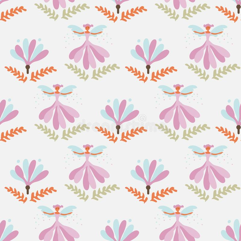 Seamless vector pattern with flower fairies in the garden stock illustration