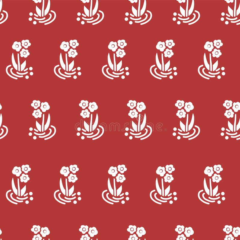 Seamless vector pattern folk flowers white on red royalty free illustration