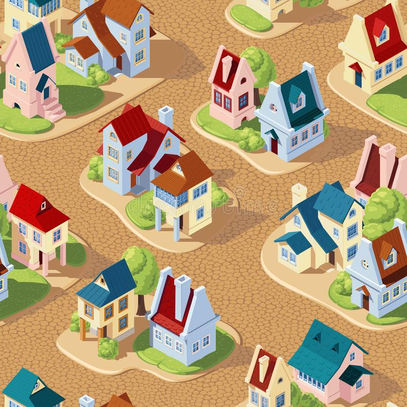 Seamless vector pattern in the form of streets of the old city with houses and pavements royalty free stock images