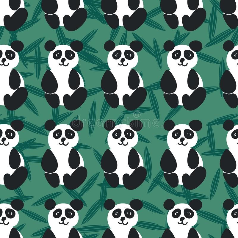 Seamless vector pattern with friendly pandas on green background stock illustration