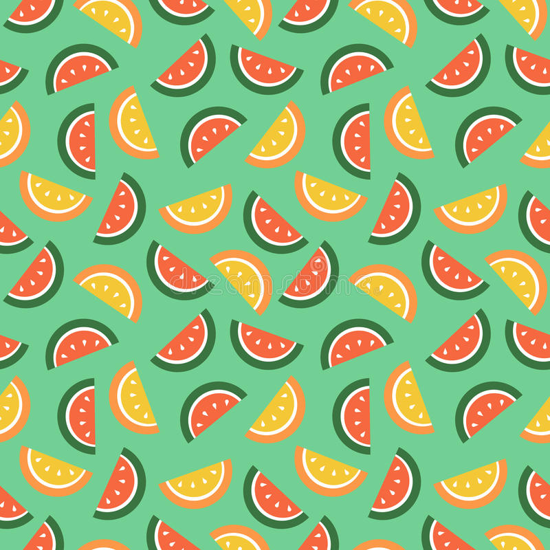 Seamless vector pattern, fruits bright chaotic background with watermelons vector illustration