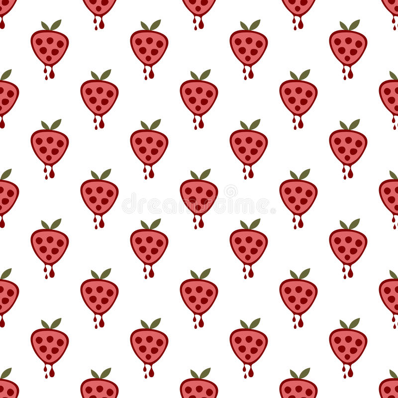 Seamless vector pattern with fruits. Symmetrical background with strawberries on the white backdrop. vector illustration