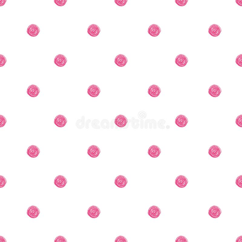 Seamless vector pattern with funny hand drawn polka dots in chalk art style vector illustration