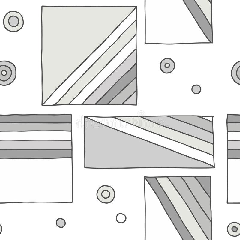 Seamless vector pattern. geometrical hand drawn background with rectangles, squares, dots, diagonal lines. Print for decorative stock illustration