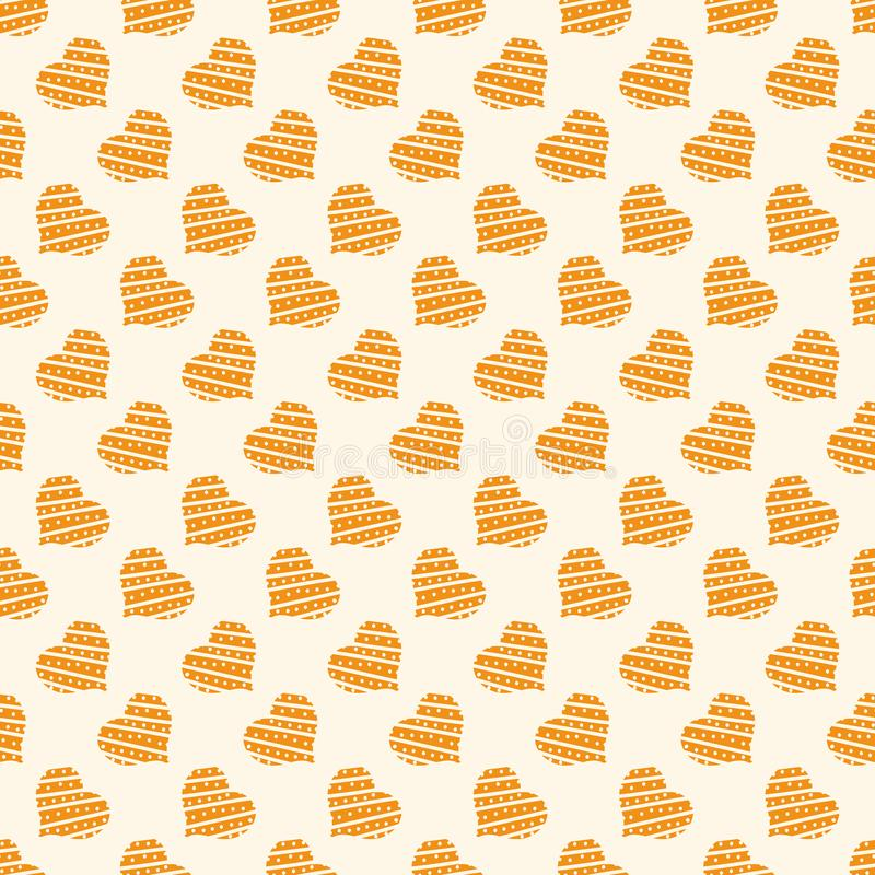 Seamless vector pattern with golden hearts. A seamless vector pattern with golden hearts. Surface print design vector illustration
