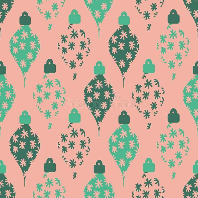 Seamless vector pattern with green christmas ornaments on a pale coral background royalty free illustration