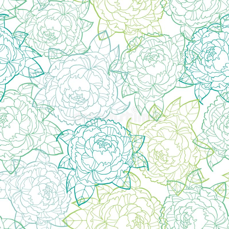 Seamless vector pattern of green peonies line art on white background, hand drawn floral illustration stock illustration