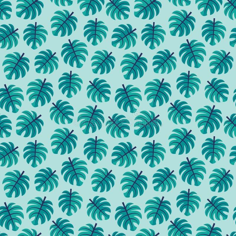 Seamless vector pattern green tropical monstera leaves aqua stock illustration