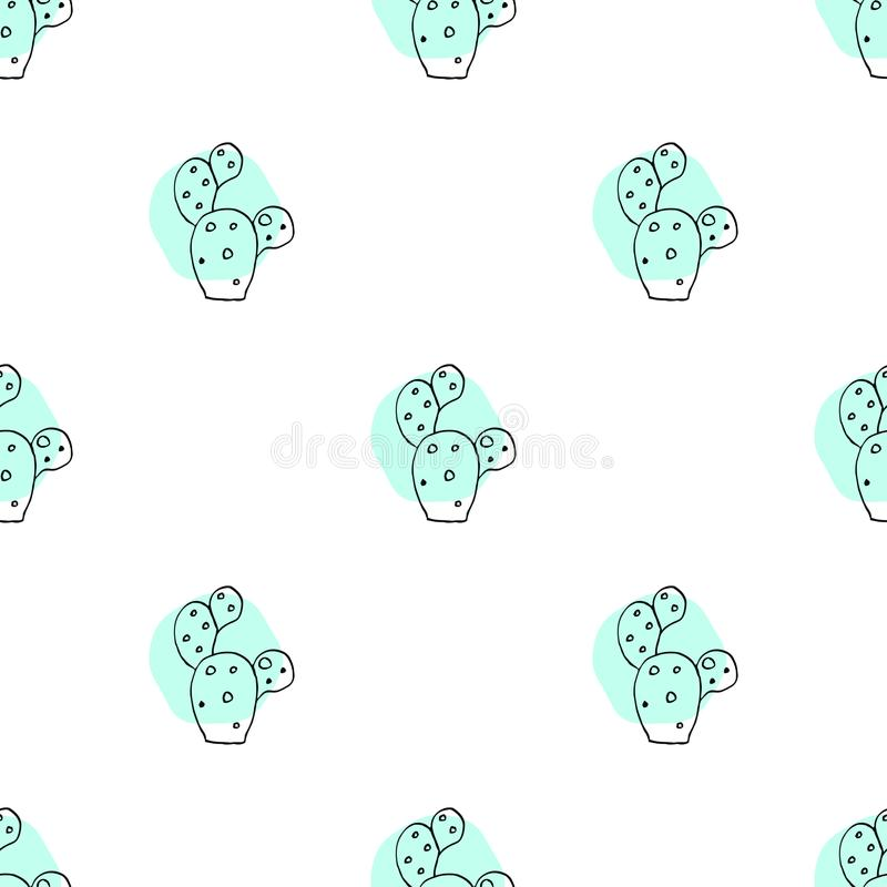 Seamless vector pattern with hand drawn cactus. royalty free illustration