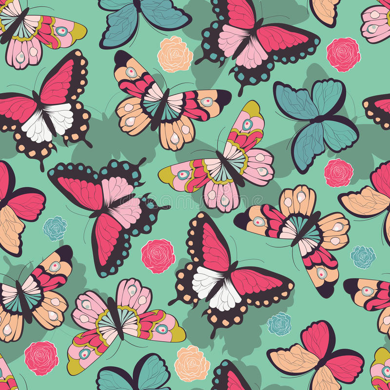 Seamless vector pattern with hand drawn colorful butterflies. Vector illustration stock illustration