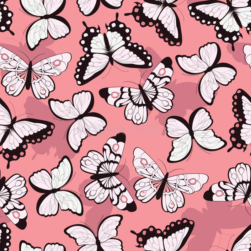 Seamless vector pattern with hand drawn colorful butterflies, pink background. Vector illustration stock illustration