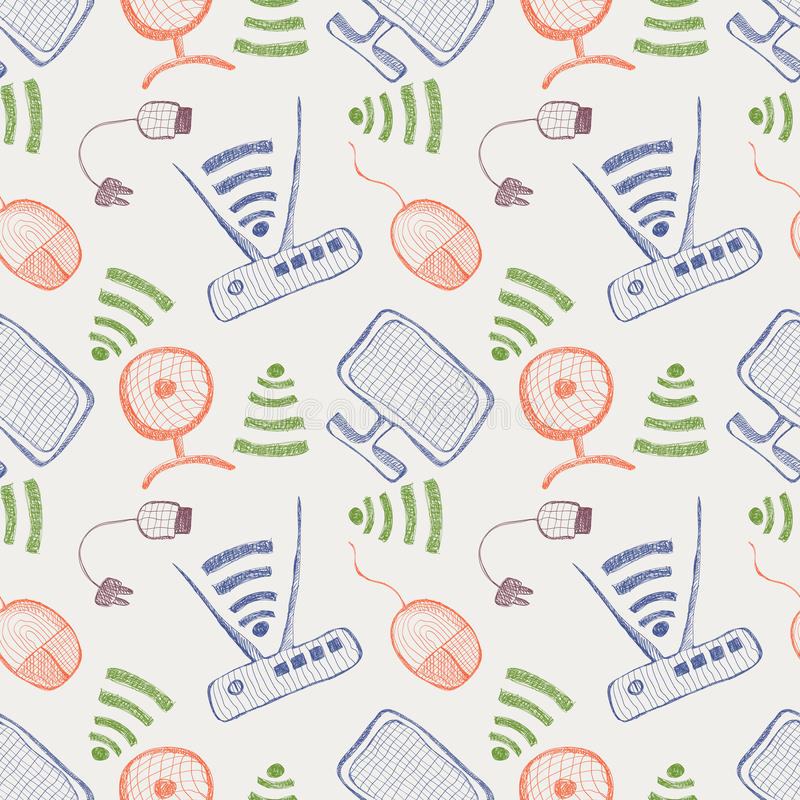Seamless vector pattern with hand drawn colorful monitor. Pc mouse, wifi router and usb cable on the white background. Series of Technology, Cartoon, Doodle royalty free illustration