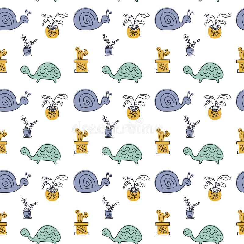Seamless vector pattern with hand drawn cute turtles, snails and potted flowers. Background for children`s fabric design vector illustration