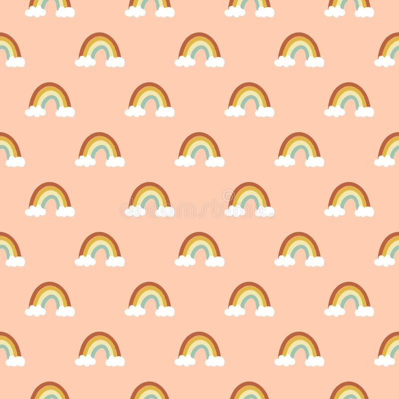 Seamless vector pattern of hand drawn doodle rainbow of warm autumn pastel color palette white clouds on peachy pink background. Kids room interior decoration royalty free illustration