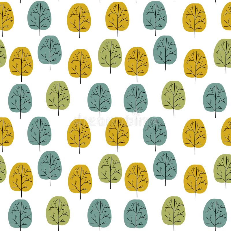 Seamless vector pattern. Hand drawn doodle trees with multicolored foliage in warm autumnal color palette green gray yellow. Retro vector illustration