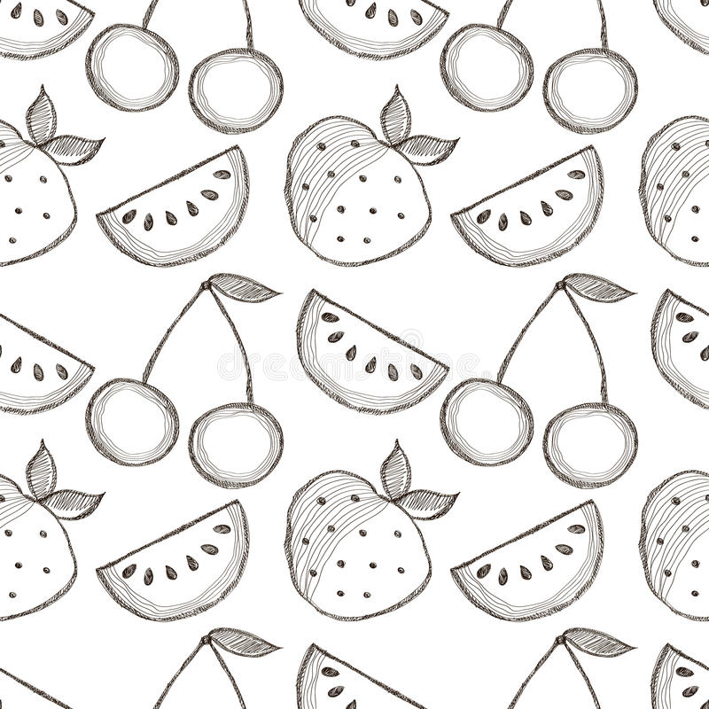 Seamless vector pattern with hand drawn fruits. Black and white Background with watermelons, srawberries and cherries. vector illustration