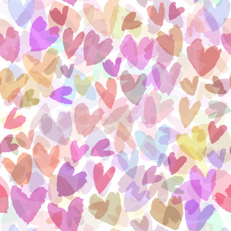 Seamless vector pattern with hand drawn hearts. Romantic background with pink hearts. Vector seamless background. royalty free illustration