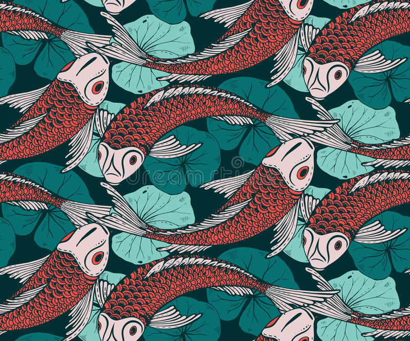 Seamless vector pattern with hand drawn Koi fish vector illustration