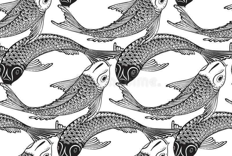 Seamless vector pattern with hand drawn Koi fish stock illustration