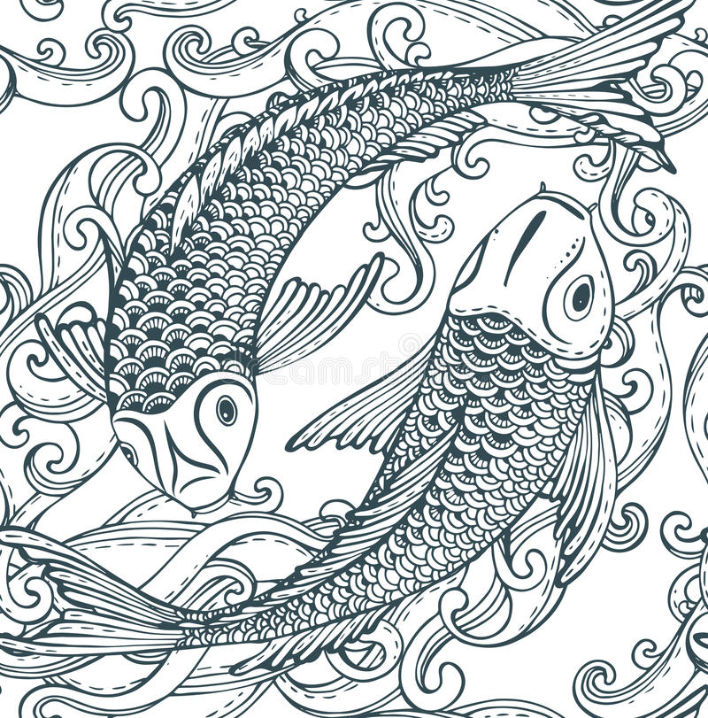 Seamless vector pattern with hand drawn Koi fish (Japanese carp), waves. stock illustration