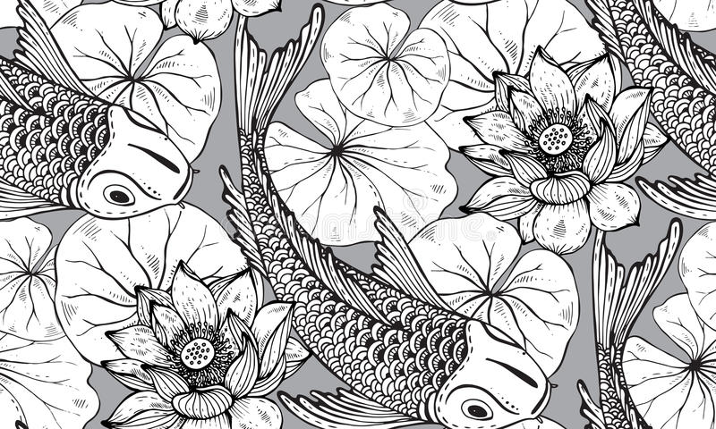 Koi Fish And Lotus Flower Drawing