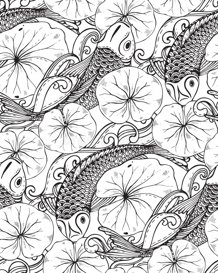 Download Seamless Vector Pattern With Hand Drawn Koi Fish, Lotus Leaves  Stock Vector   Illustration