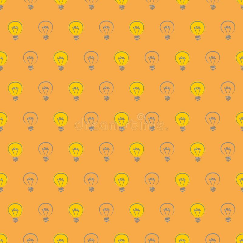 Seamless vector pattern hand drawn light bulbs royalty free illustration