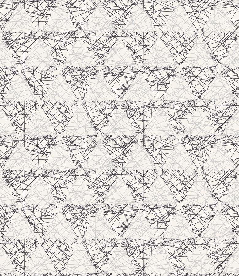 Seamless vector pattern. Hand drawn rough textured triangle. Repeating geo background. Monochrome surface design textile swatch. Seamless vector pattern. Hand stock image