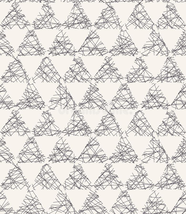Seamless vector pattern. Hand drawn rough textured triangle. Repeating geo background. Monochrome surface design textile swatch. Seamless vector pattern. Hand royalty free illustration
