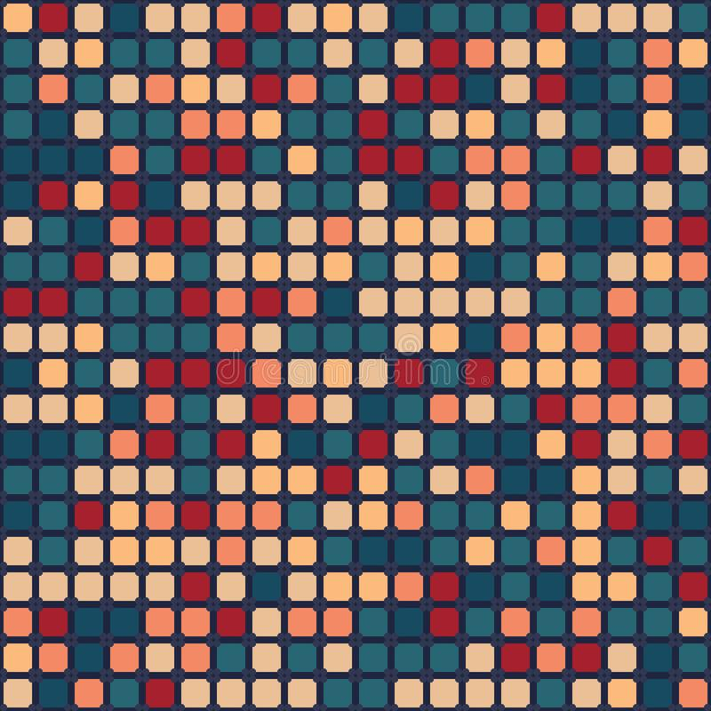 Seamless vector pattern. Hand drawn square pixel grid. Geometric tiny mosaic tile background. Abstract hipster tech swatch vector illustration