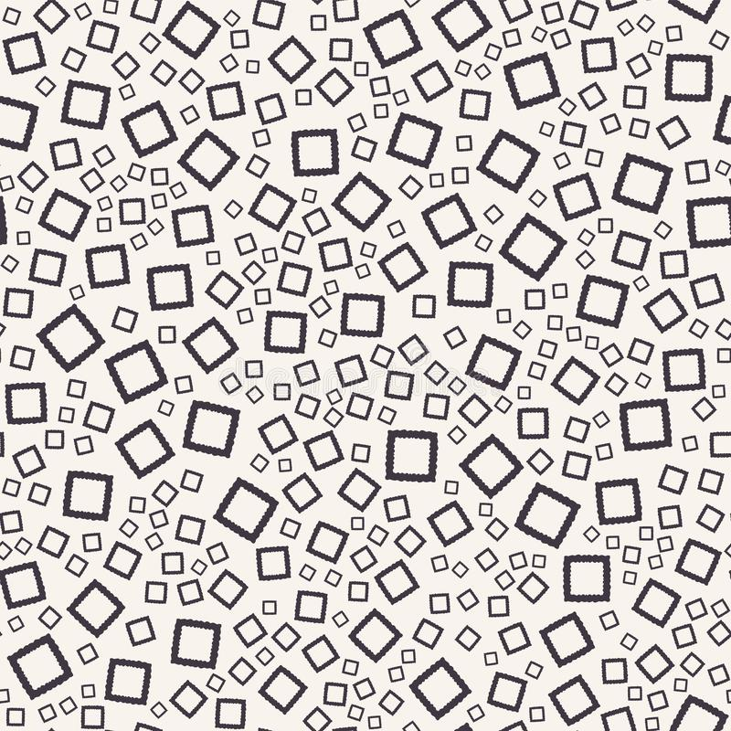 Seamless vector pattern. Hand drawn tossed squares. Repeating geo background. Monochrome surface design textile swatch. Modern. Seamless vector pattern. Hand royalty free stock photos