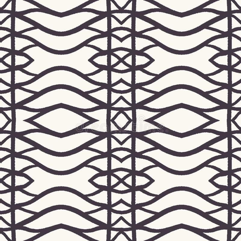 Seamless vector pattern. Hand drawn woven trellis grid. Geometric black and white line background. Abstract hipster swatch. Seamless vector pattern. Hand drawn stock illustration