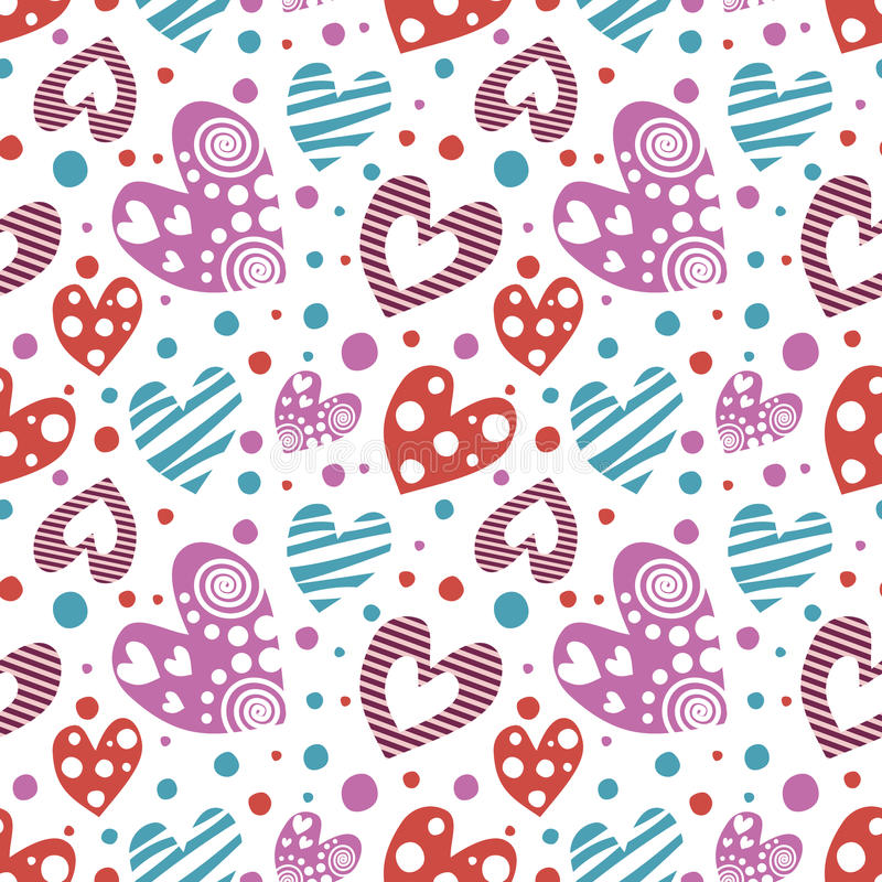 Seamless vector pattern with hearts. Background with different colorful hand drawn ornamental. Symbols and dots on the white. Decorative repeating ornament vector illustration
