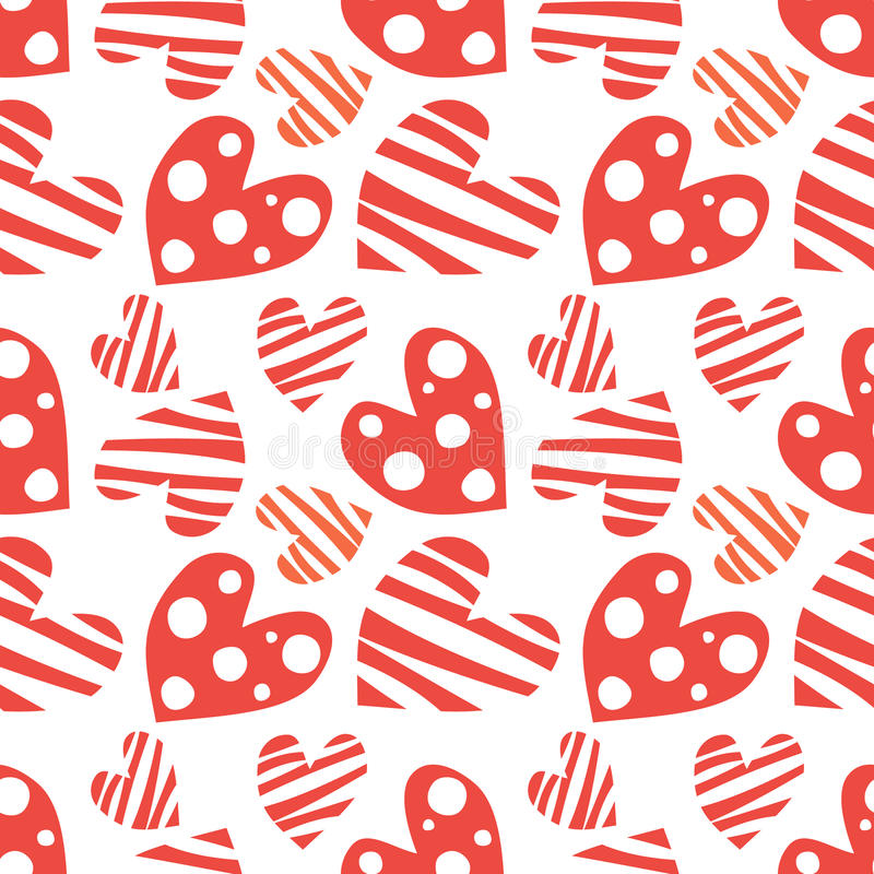 Seamless vector pattern with hearts. Background with red hand drawn ornamental symbols. stock illustration