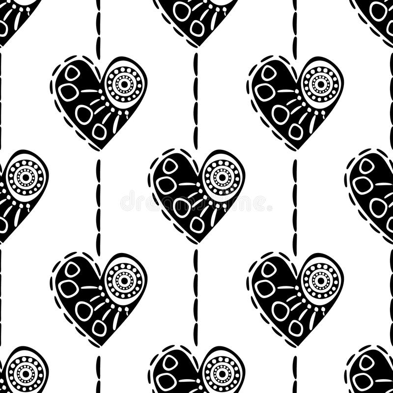 Seamless vector pattern with hearts. Black and white abstract background with drawn elements and ornamental symbols. stock illustration