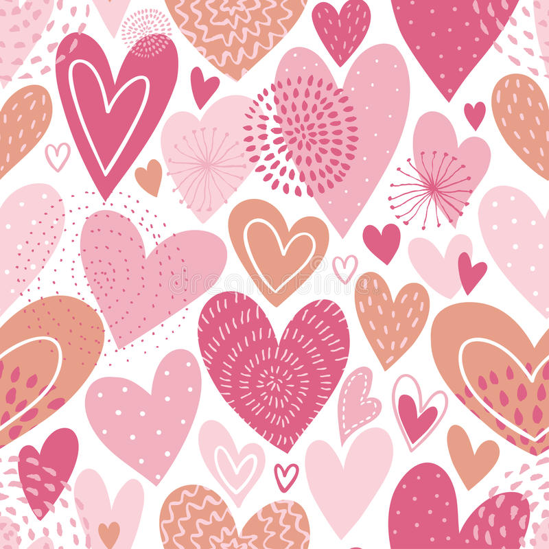 Seamless vector pattern with hearts. Love background for Valentine`s day. Seamless bright romantic design for fabric or wrap paper stock illustration