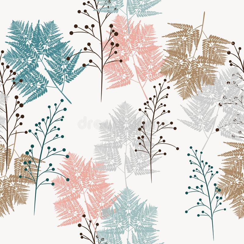 Seamless vector pattern of herbs and fern, for fabric, paper and other printing and web projects. White background vector illustration