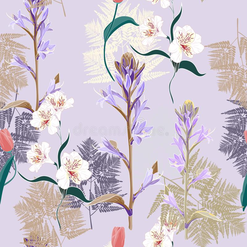 Seamless vector pattern of herbs, fern and white violet flowers royalty free illustration