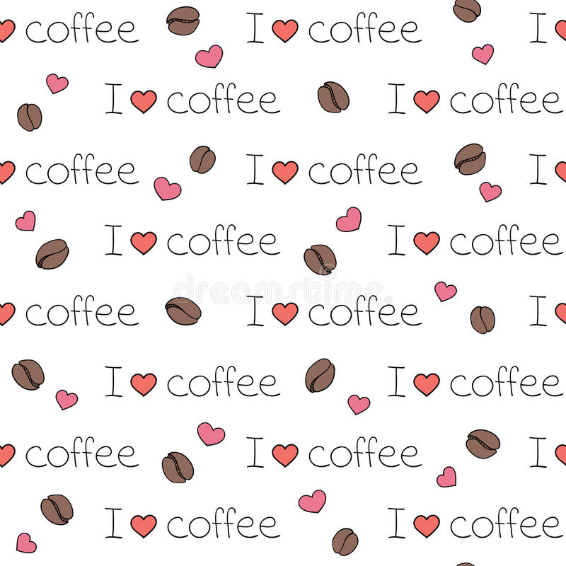 Seamless vector pattern i love coffee stock image