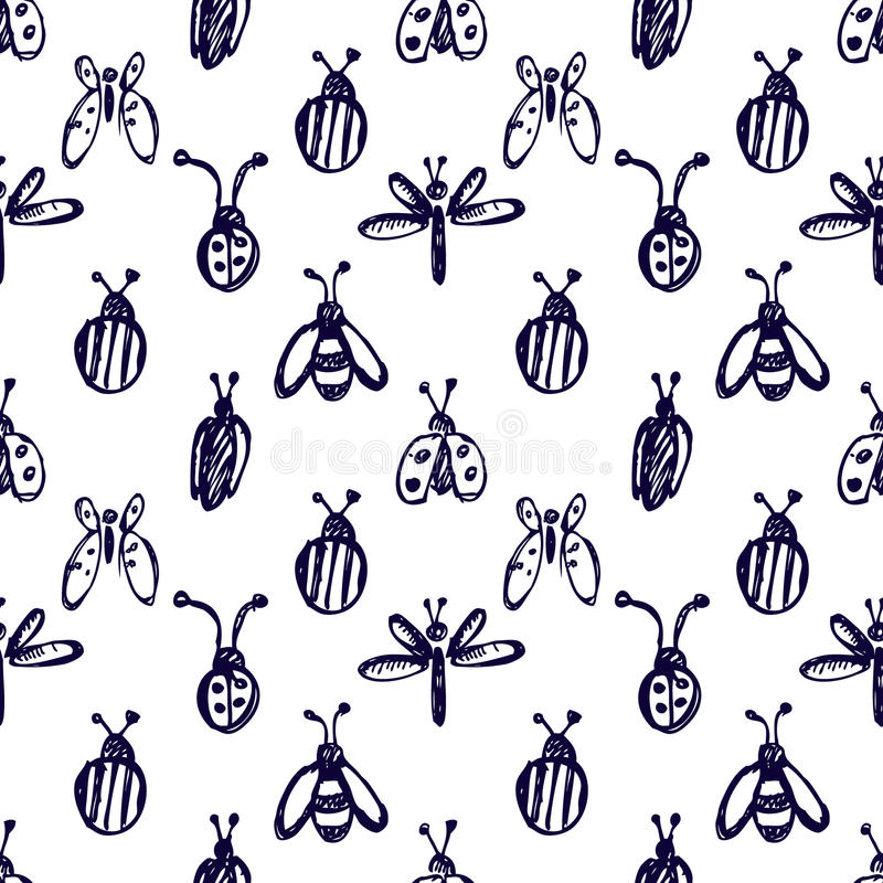 Seamless vector pattern with insects, background with ladubugs, wasps, beetle, butterflies and dragonflies. Hand sketch drawing. Imitation of ink pencilling vector illustration